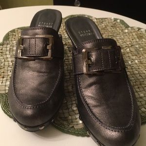 Stuart Weitan Pewter mules with Buckles 7 1/2